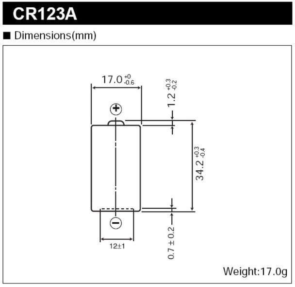 Black light CR123A battery dimensions showing actual product sizes