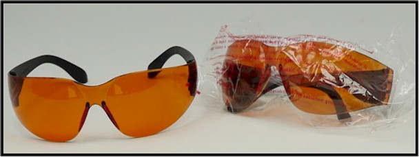 Orange lens copper blue UV safety eye ware for use with black lights and ultra violet LEDs