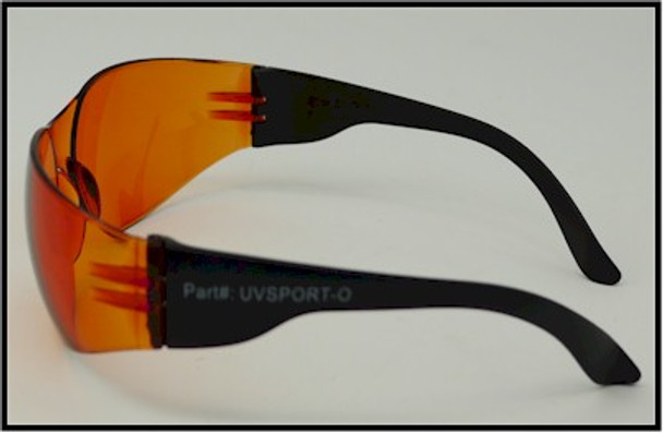 Left view of the ultraviolet energy safety glasses sporting a modern new look