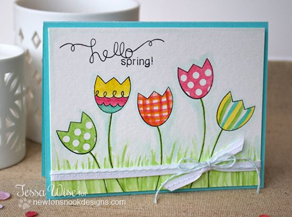 Spring Tulip Card | Easter Scramble stamp set by Newton's Nook Designs.