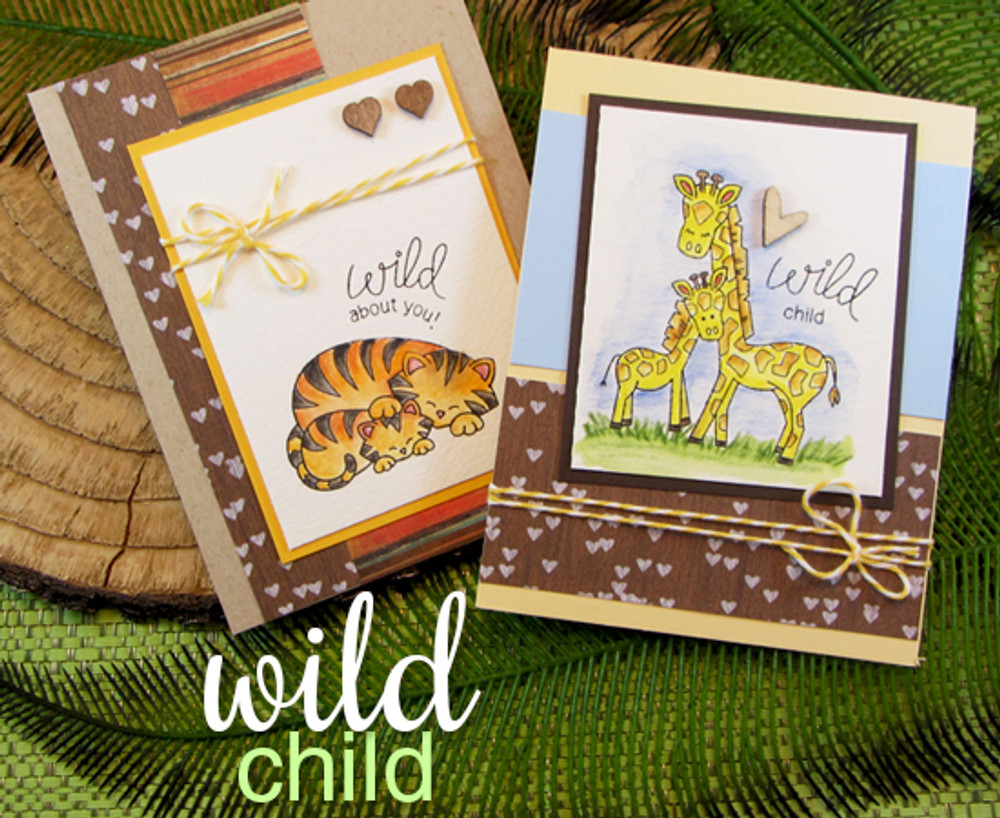 Tiger & Giraffe baby animal cards  | Wild Child stamp set by Newton's Nook Designs