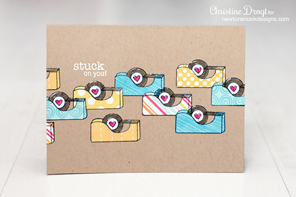 Stuck on you card | Around the House Stamp Set | Newton's Nook Designs