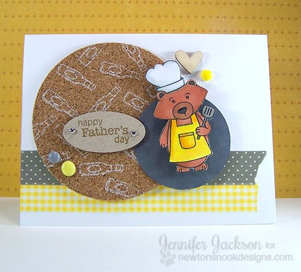 Happy Fathers Day Bear Card | Winston's BBQ stamp set by Newton's Nook Designs