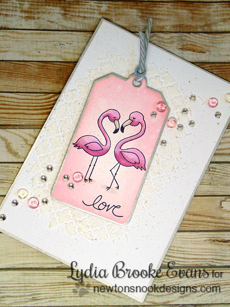 Flamingo couple Love card | Flirty Flamingos stamp set by Newton's Nook Designs
