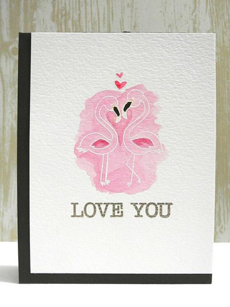 Flamingo couple Love card   Flirty Flamingos stamp set by Newton's Nook Designs