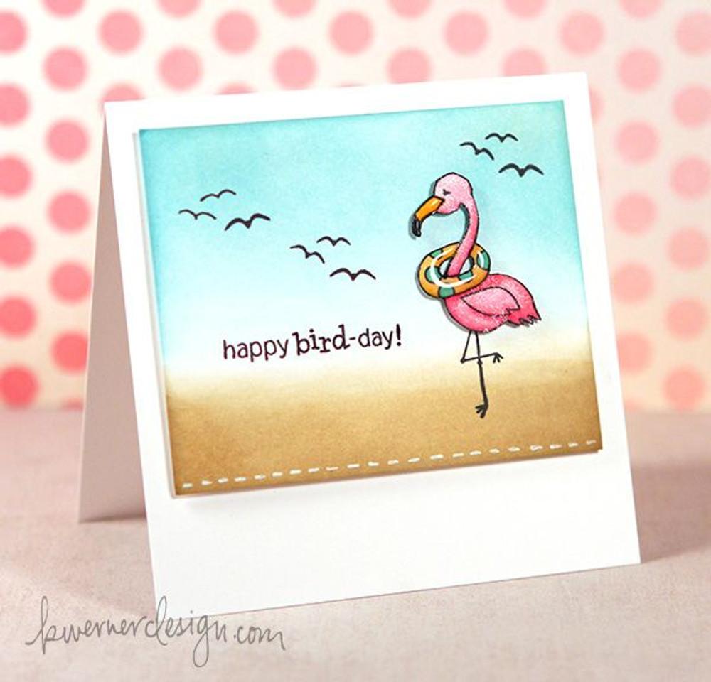 Flamingo Birthday Card   Flirty Flamingos stamp set by Newton's Nook Designs