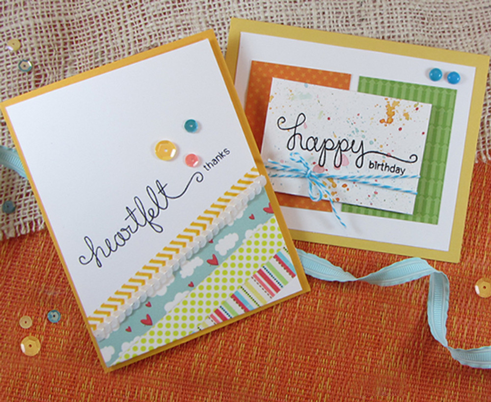 Birthday and Thanks cards made with Simply Sentimental stamp set from Newton's Nook Designs | 4x6 photopolymer Stamp Set | Newton's Nook Designs