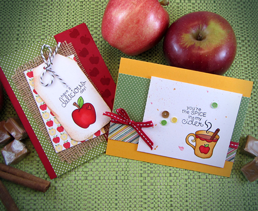 Apple Cards | Apple Delights | 3x4 photopolymer Stamp Set | Newton's Nook Designs