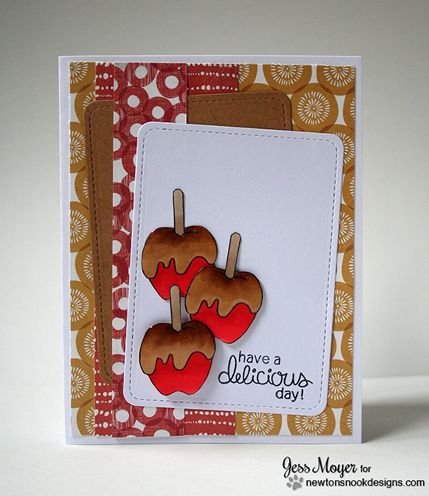 Caramel Apple Card | Apple Delights | 3x4 photopolymer Stamp Set | Newton's Nook Designs
