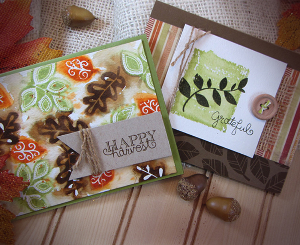 Watercolor Leaf Cards | Falling into Autumn | 4x6 photopolymer Stamp Set | Newton's Nook Designs