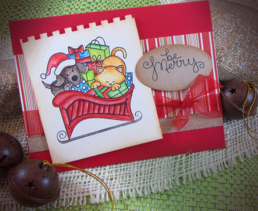 Dog and Cat Be Merry Card | Christmas Delivery | 3x4 photopolymer Stamp Set | Newton's Nook Designs