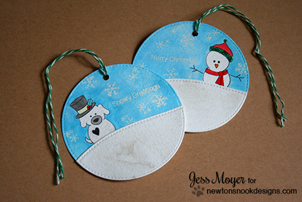 Winter Snowman Tags | Flaky Family | 4x6 photopolymer Stamp Set | Newton's Nook Designs