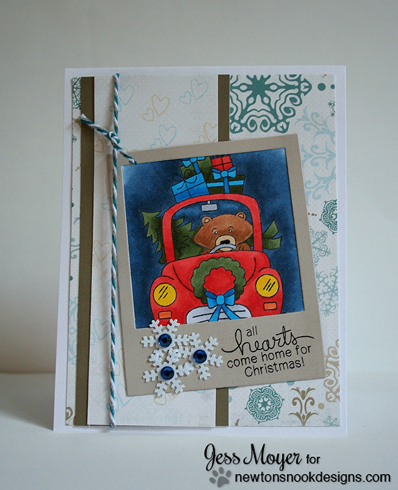 Bear with gifts Christmas Card   Winston's Home For Christmas   4x6 photopolymer Stamp Set   Newton's Nook Designs