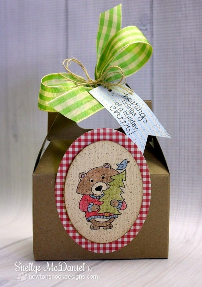 Bear with Tree Christmas Box | Winston's Home For Christmas | 4x6 photopolymer Stamp Set | Newton's Nook Designs