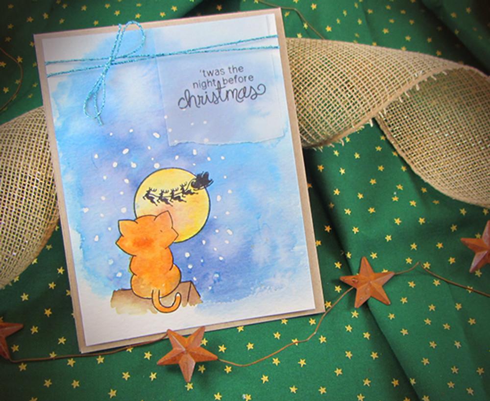 Cat Christmas Card | Newton's Curious Christmas | 4x6 photopolymer Stamp Set | Newton's Nook Designs