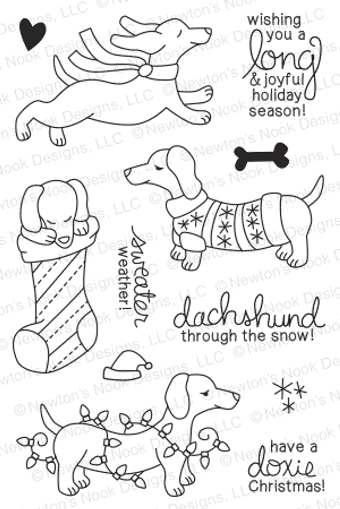 Holiday Hounds | 4x6 photopolymer Stamp Set | Newton's Nook Designs