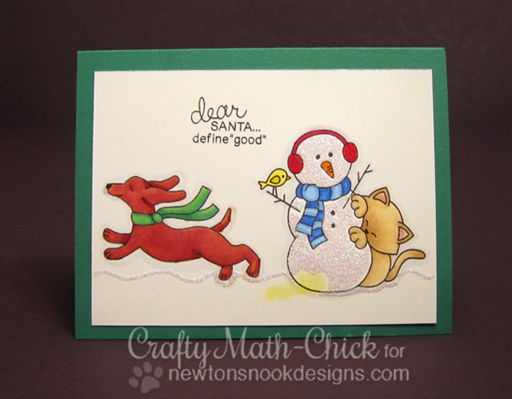 Dachshund Cat and Snowman Christmas Card | Holiday Hounds | 4x6 photopolymer Stamp Set | Newton's Nook Designs