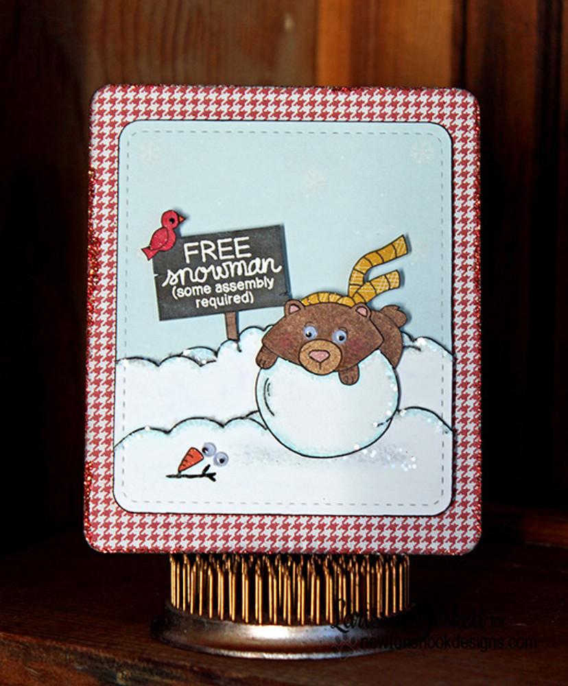 Winston the Bear Winter Card | Winter Tails | 4x6 photopolymer Stamp Set | Newton's Nook Designs