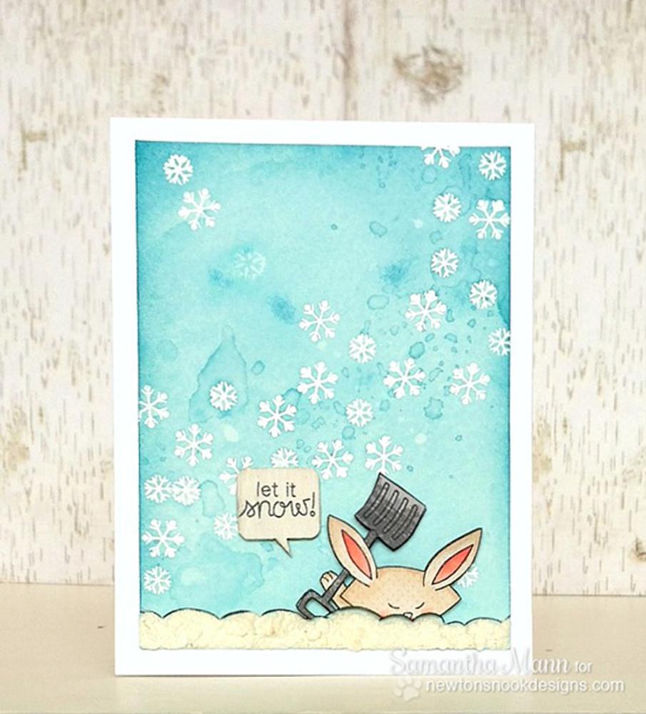 Bunny Winter Snow Card | Winter Tails | 4x6 photopolymer Stamp Set | Newton's Nook Designs