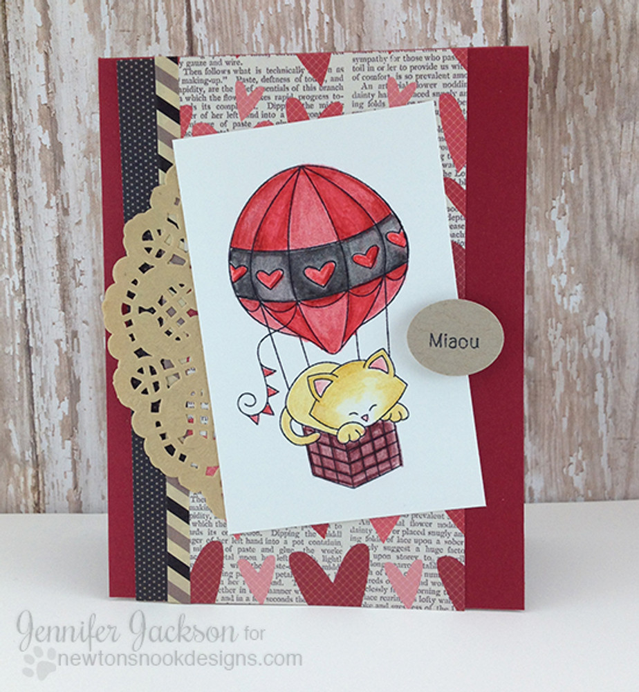Cat in Hot Air Balloon Card| Newton Dreams of Paris | 4x6 photopolymer Stamp Set | Newton's Nook Designs