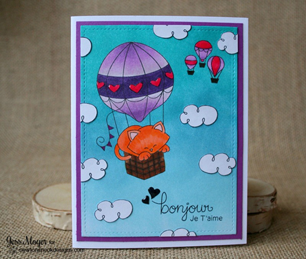 Cat in Hot Air Balloon Card | Newton Dreams of Paris | 4x6 photopolymer Stamp Set | Newton's Nook Designs