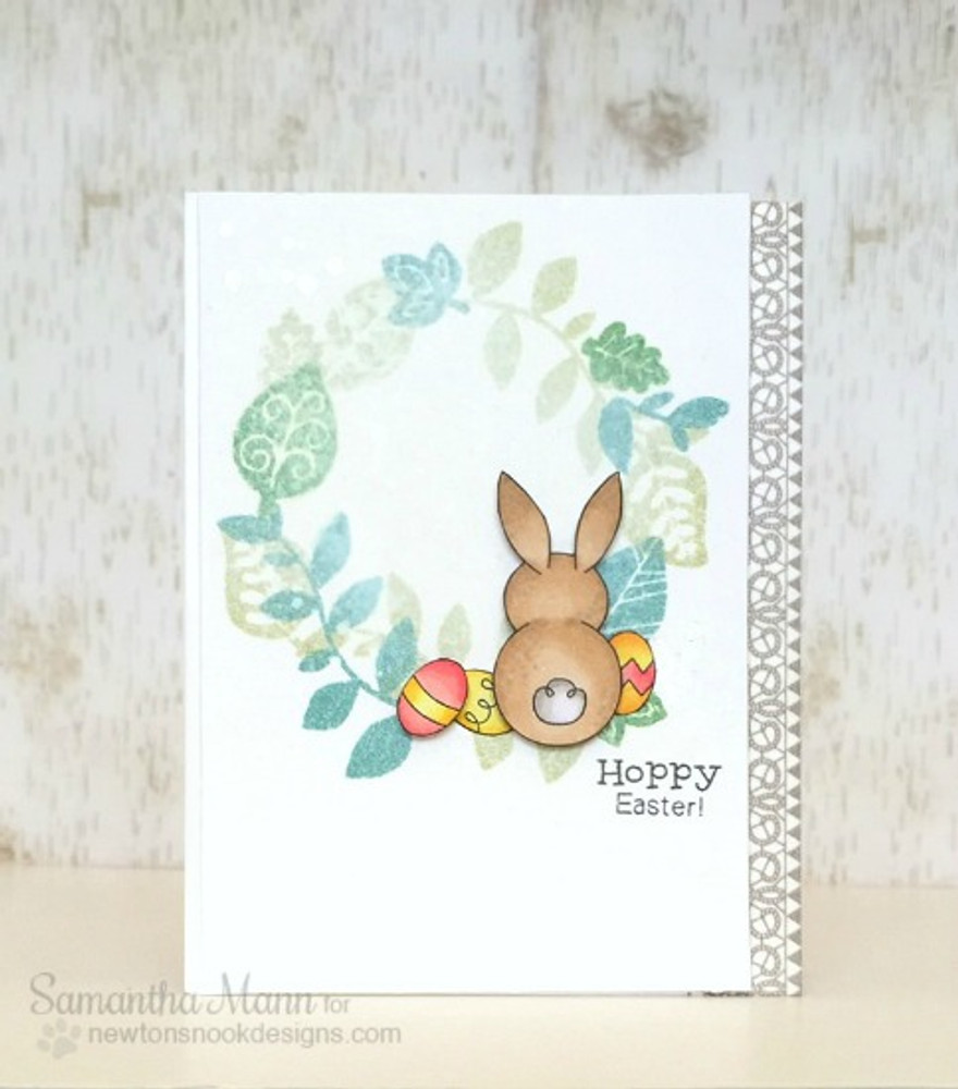 Bunny Easter Card | Bunny Hop | 3x4 photopolymer Stamp Set | Newton's Nook Designs