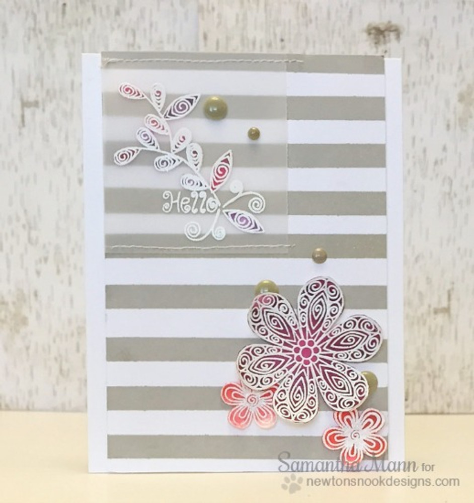 Friendship flower Card | Beautiful Blossoms | 4x6 photopolymer Stamp Set | Newton's Nook Designs