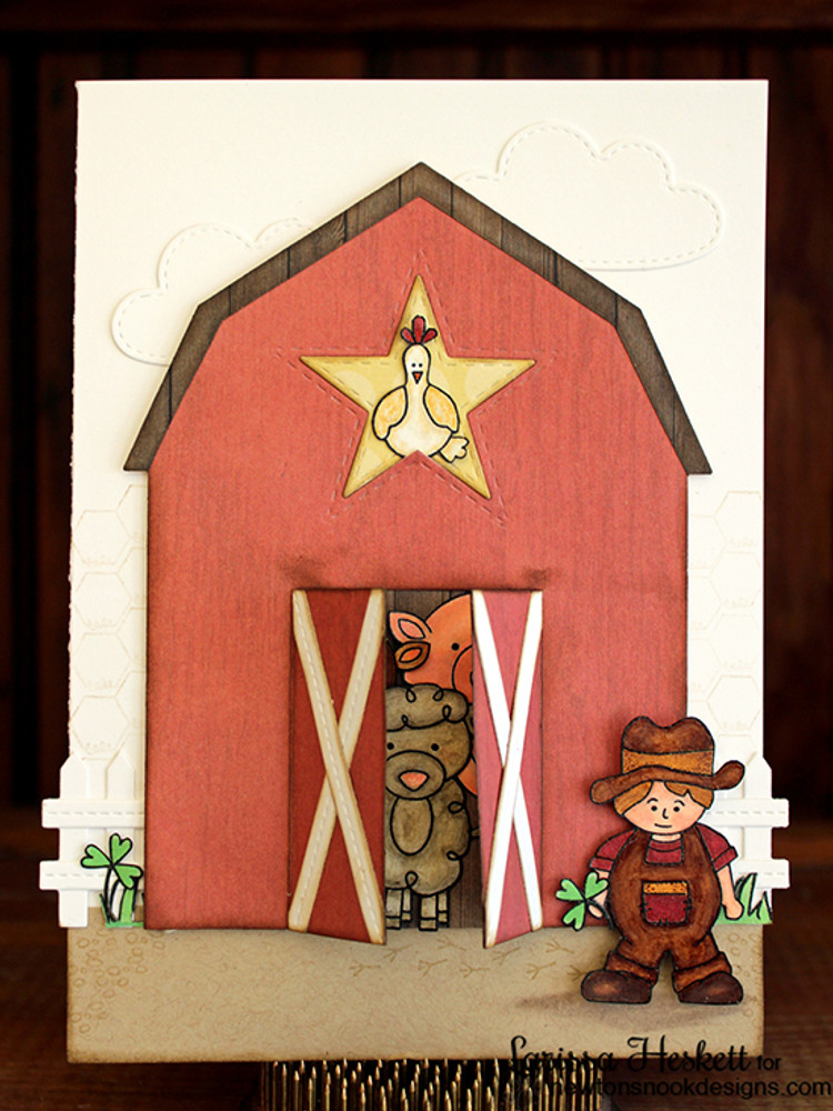 Farm Card | Farmyard Friends | 4x6 photopolymer Stamp Set | Newton's Nook Designs