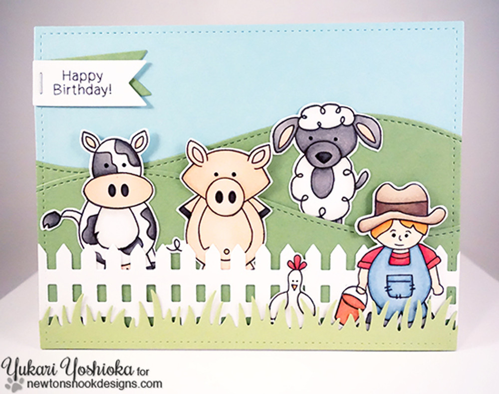 Farmyard Birthday Card | Farmyard Friends | 4x6 photopolymer Stamp Set | Newton's Nook Designs