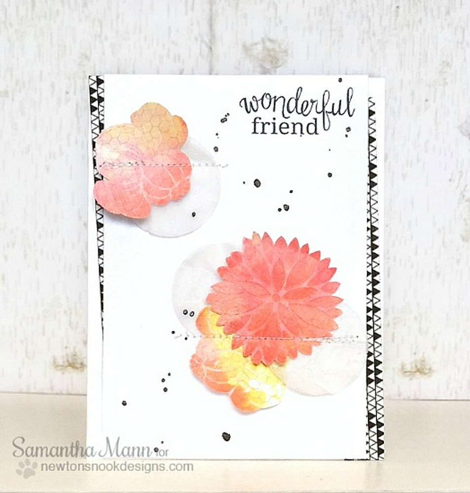 Friendship Flower Card | Fanciful Florals | 4x6 photopolymer Stamp Set | Newton's Nook Designs