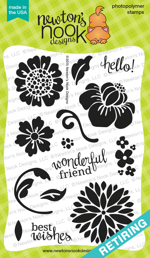 Fanciful Florals | 4x6 photopolymer Stamp Set | Newton's Nook Designs