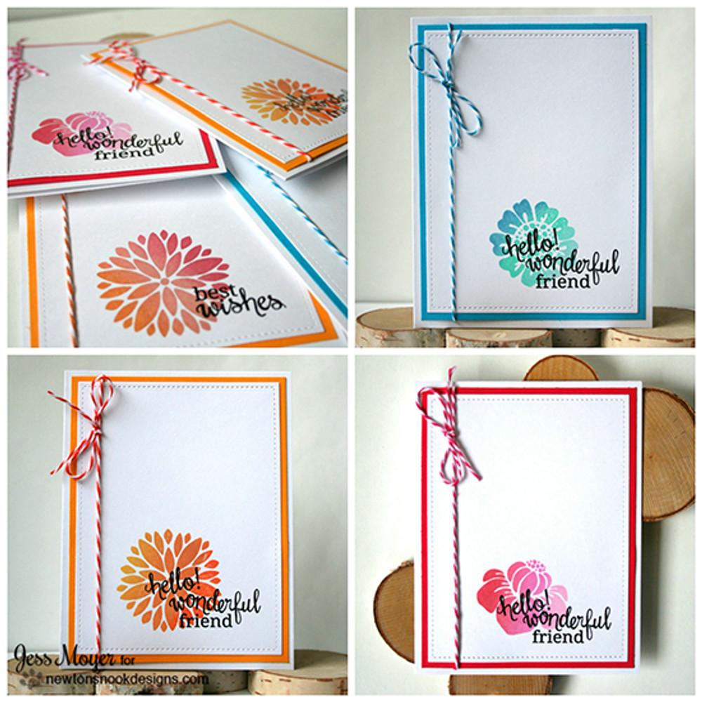 Friendship Flower Cards | Fanciful Florals | 4x6 photopolymer Stamp Set | Newton's Nook Designs