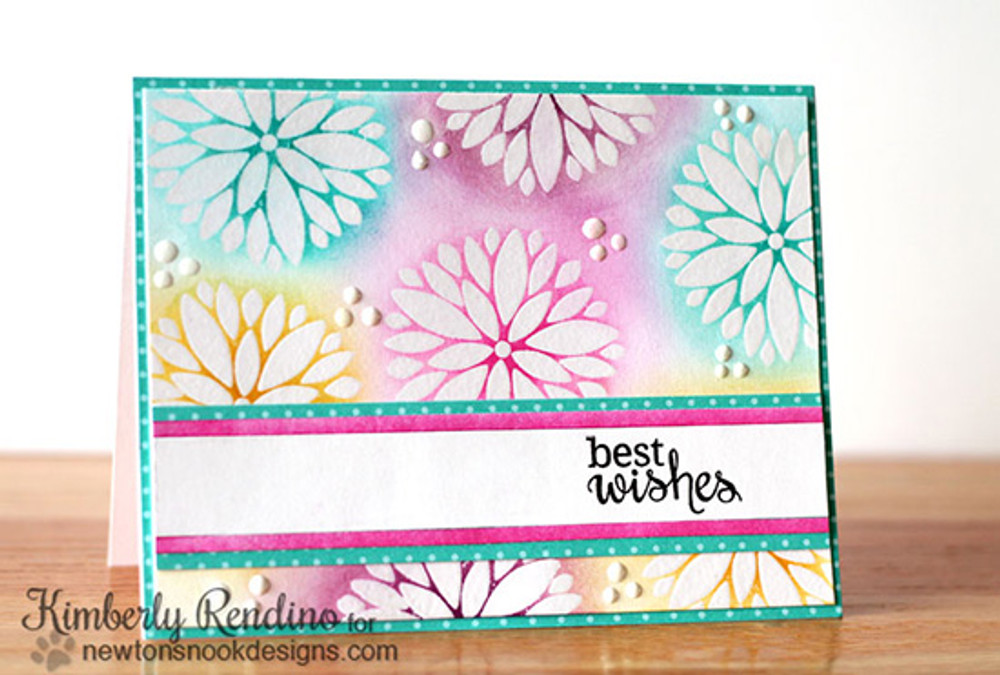 Best Wishes Flower Card | Fanciful Florals | 4x6 photopolymer Stamp Set | Newton's Nook Designs