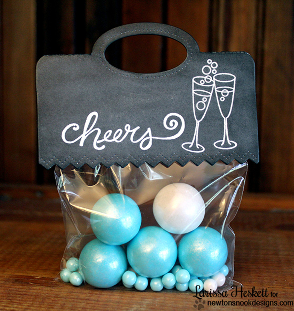 Cheers party gift bag | Years of Cheers | 3x4 photopolymer Stamp Set | Newton's Nook Designs