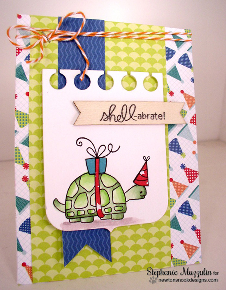 Celebrate Turtle Card | In Slow Motion | 4x6 Photopolymer Stamp Set | Newton's Nook Designs