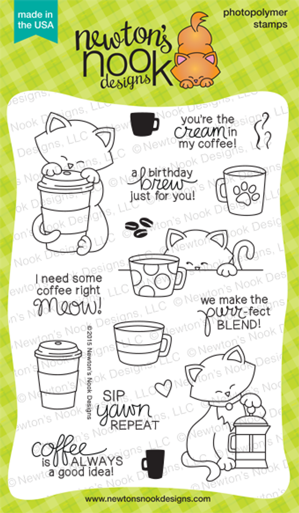 Newton Loves Coffee | 4x6 Photopolymer Stamp Set | Newton's Nook Designs