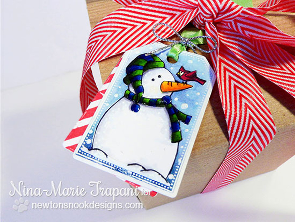Snowman Tag | Jolly Tags | 4x6 Photopolymer Stamp Set | Newton's Nook Designs