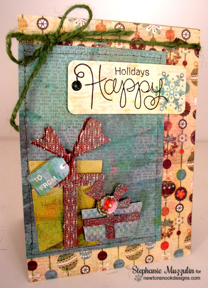 Happy Holidays Card | Simply Seasonal | 4x6 Photopolymer Stamp Set | Newton's Nook Designs