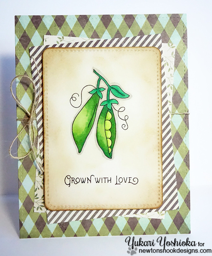 Pea Pod Garden Card using Vegetable Garden Stamp Set by Newton's Nook Designs