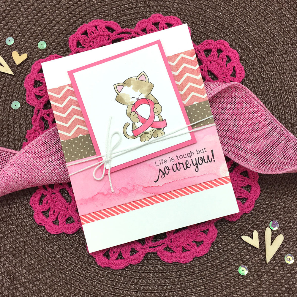Pink Ribbon card using Newton's Support Stamp Set by Newton's Nook Designs