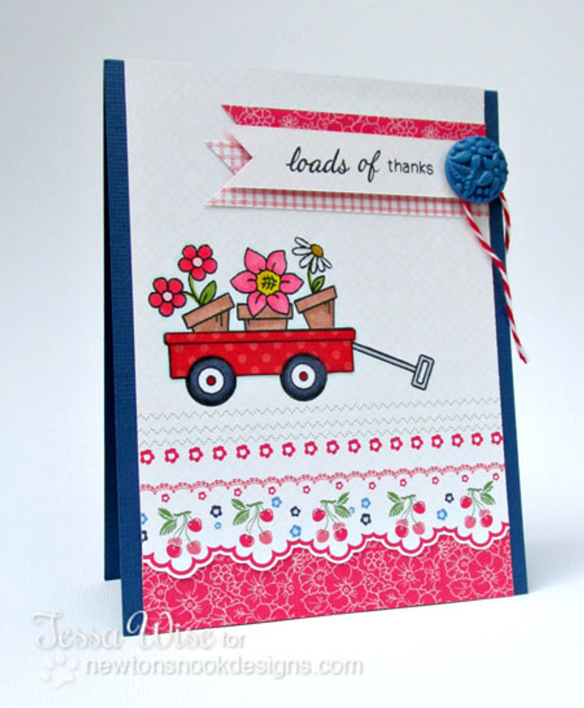 Flowers in Wagon Card  | Wagon of Wishes Stamp Set by Newton's Nook Designs.