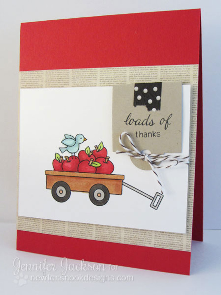 Loads of Thanks Apples in Wagon card  | Wagon of Wishes Stamp Set by Newton's Nook Designs.