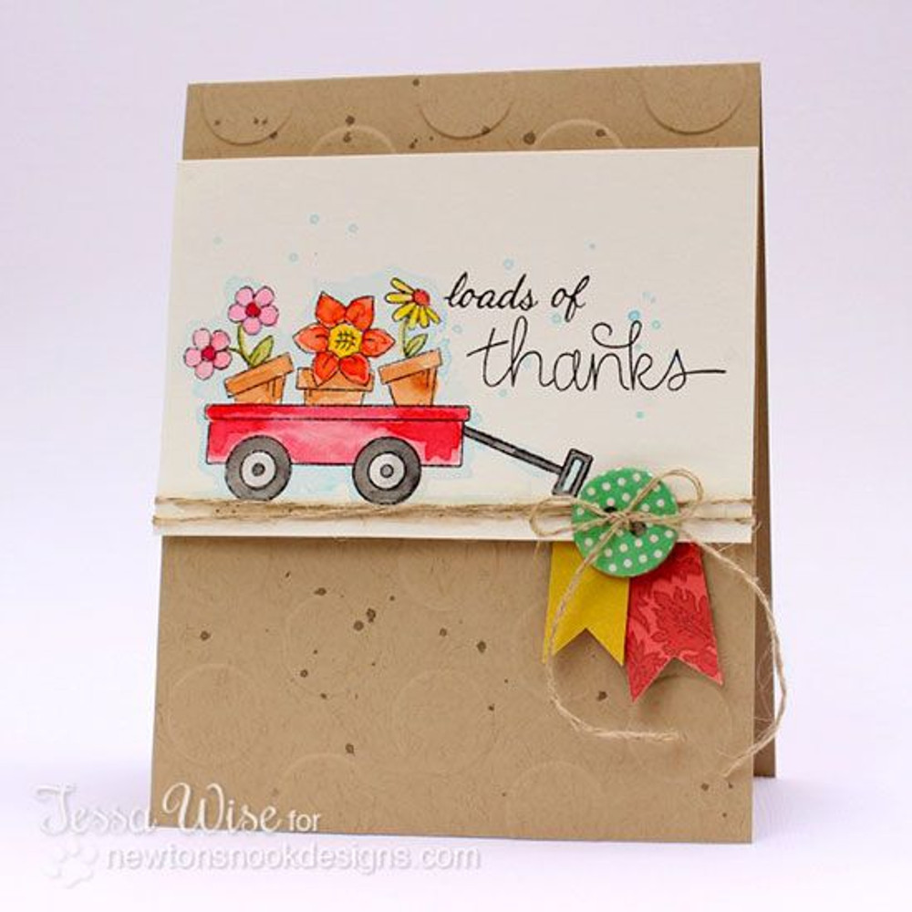 Thanks Flowers in Wagon Card | Wagon of Wishes Stamp Set by Newton's Nook Designs.