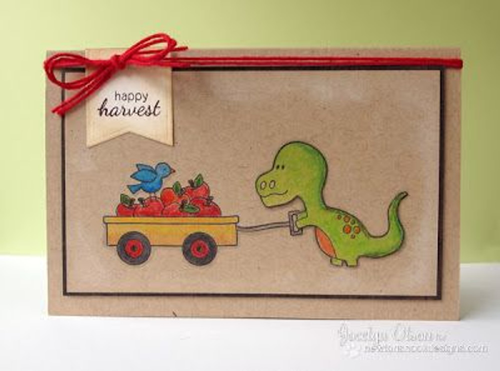 Happy Harvest Fall Wagon with Dino Card | Wagon of Wishes Stamp Set by Newton's Nook Designs.