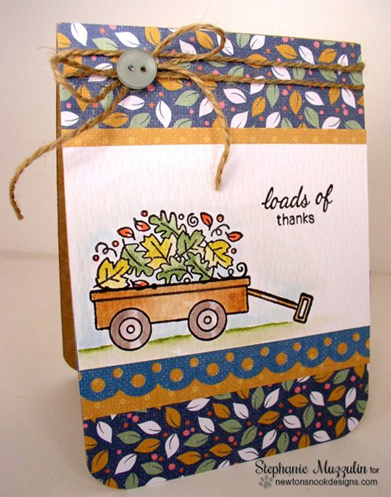 Happy Harvest Fall Wagon Card | Wagon of Wishes Stamp Set by Newton's Nook Designs.
