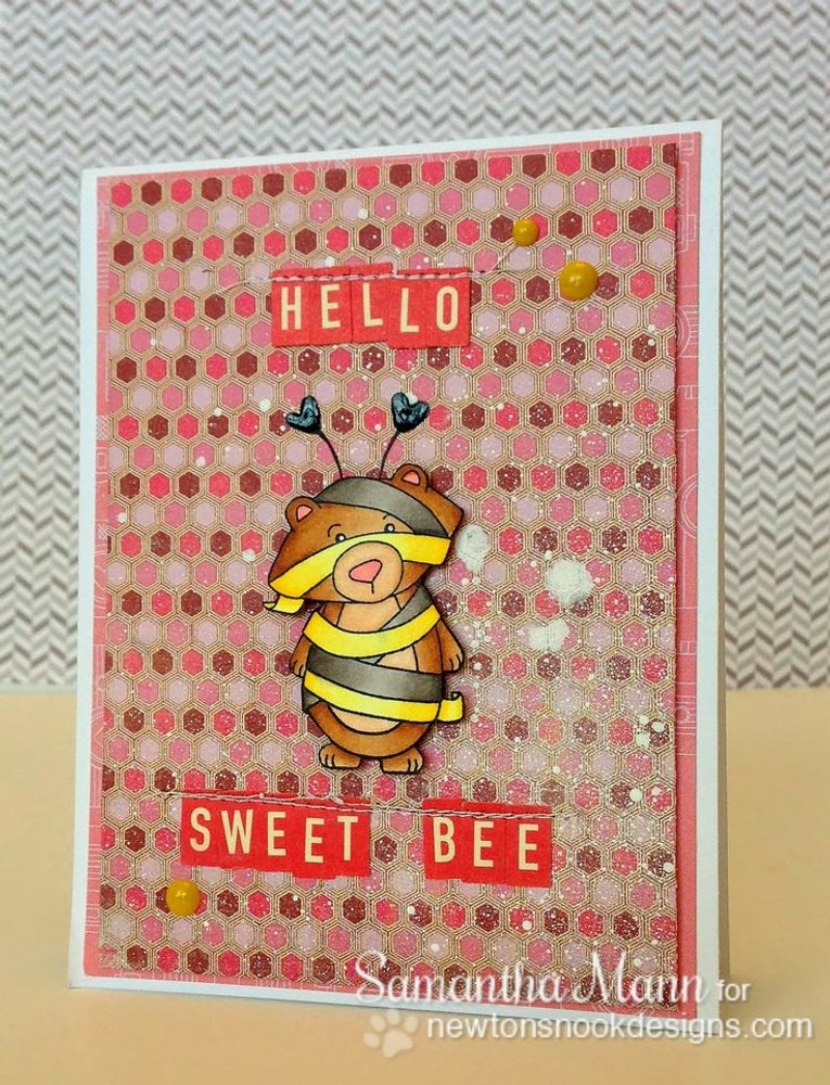 Winston the Bear dressed as a Bee costume Card  |  Boo Crew Stamp Set by Newton's Nook Designs