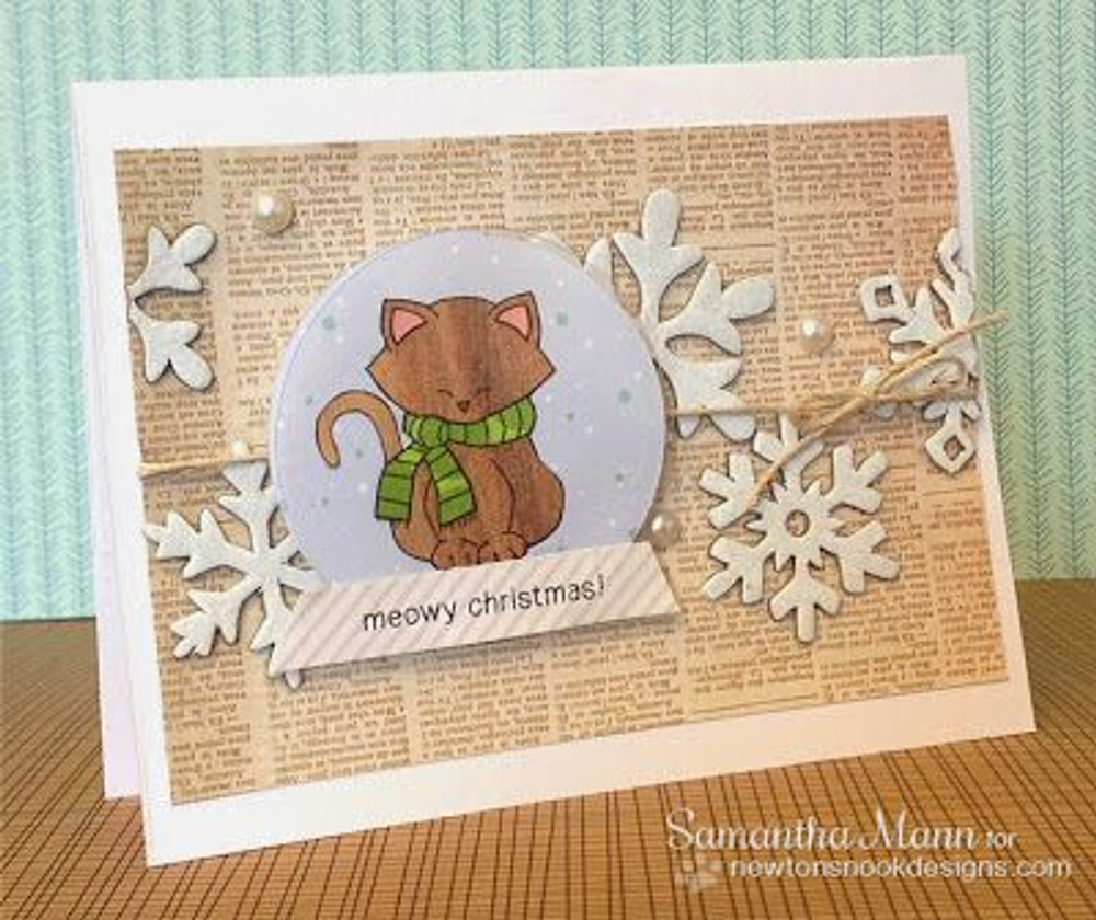 Kittyin snowglobe card | Newton's Holiday Mischief Stamp Set by Newton's Nook Designs