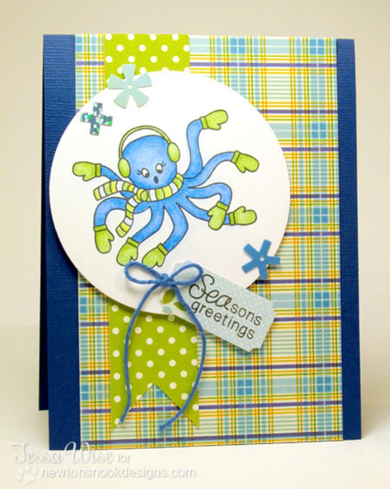 Octopus card using Seasons Greetings Stamp Set by Newton's Nook Designs