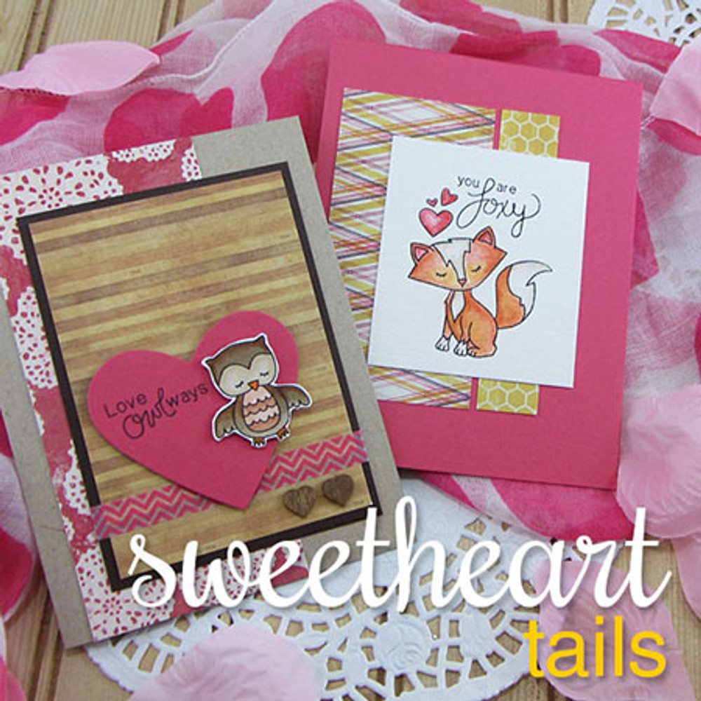 Fox and Owl Love Cards made using Sweetheart Tails Stamp Set by Newton's Nook Designs