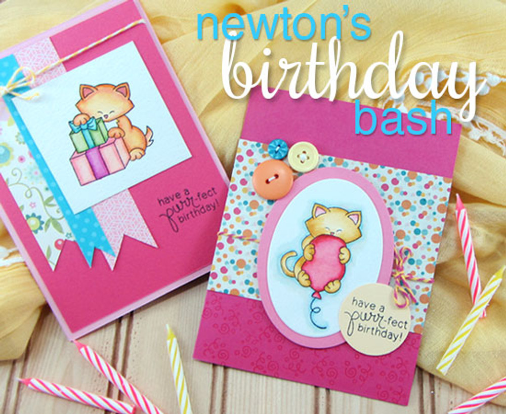 Cat Birthday cards  | Newton's Birthday Bash Cat stamp set by Newton's Nook Designs.